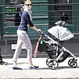 Karolina Kurkova taking a stroll with son Tobin Jack.