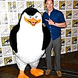 Benedict Cumberbatch posed with a giant Madagascar penguin on Thursday.