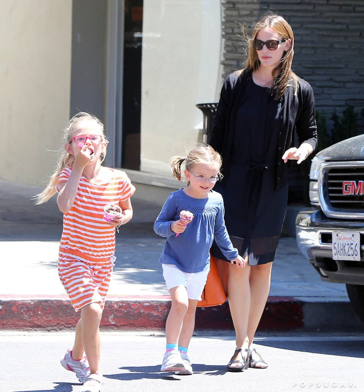 Jennifer Garner walked with Violet and Seraphina.