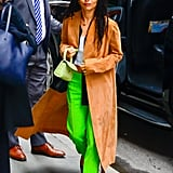 Zoë Kravitz Wearing Lime Pants With a By Far Bag in NYC