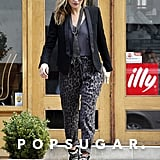 Kate Moss wore leopard-print pants and Isabel Marant heels.