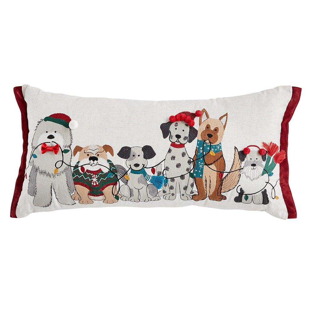 Dogs With Christmas Lights Lumbar Pillow