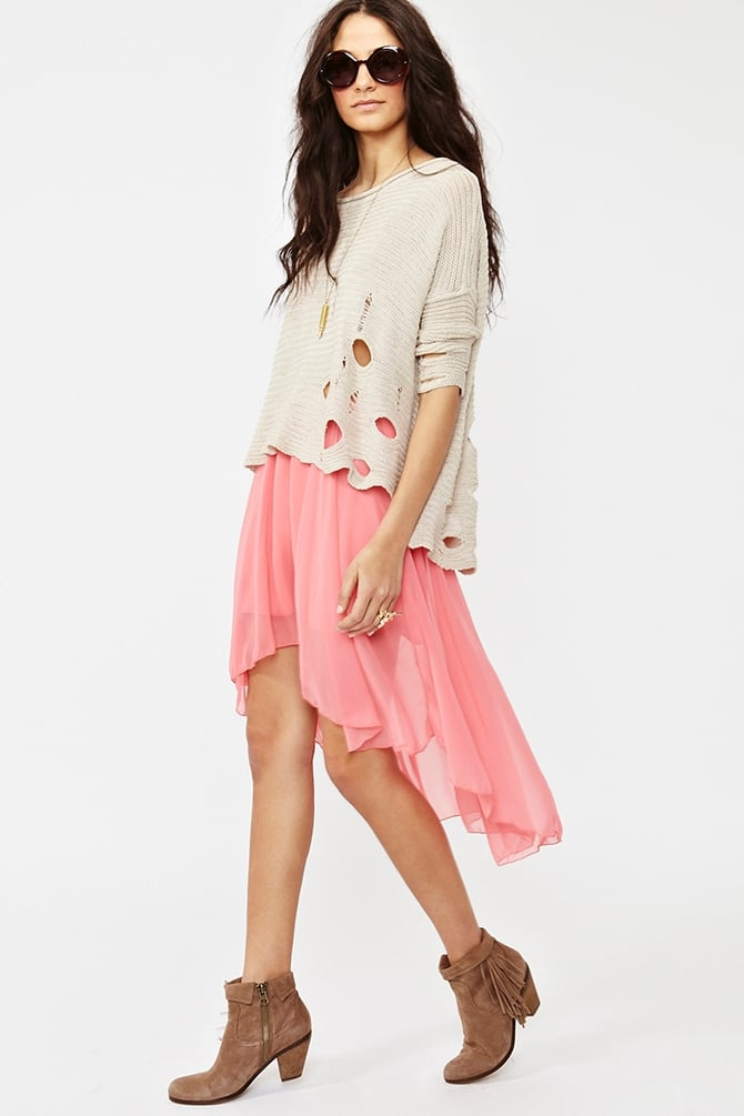 We love this wispy skirt — the high-low hem is great for a Summer day at the office. Pair it with a cotton tank or button-down.  Nasty Gal Flutter Skirt ($48)