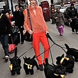 This model lets her canine companions take front and center at London Fashion Week.