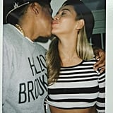 Beyoncé Knowles planted a sweet kiss on Jay-Z and reposted it to kick off the week.  Source: Instagram user beyonce