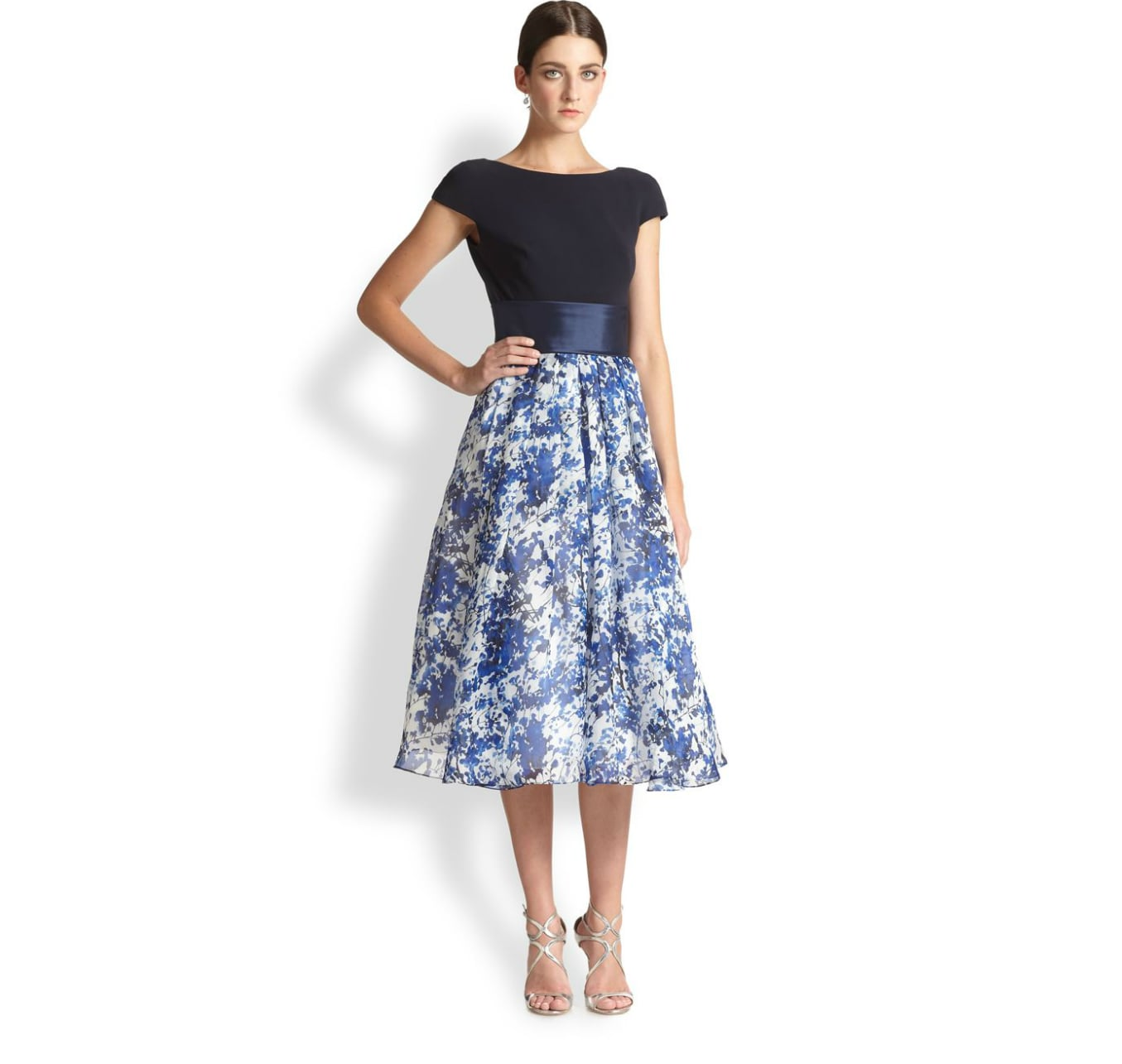 Theia Floral Skirt Dress