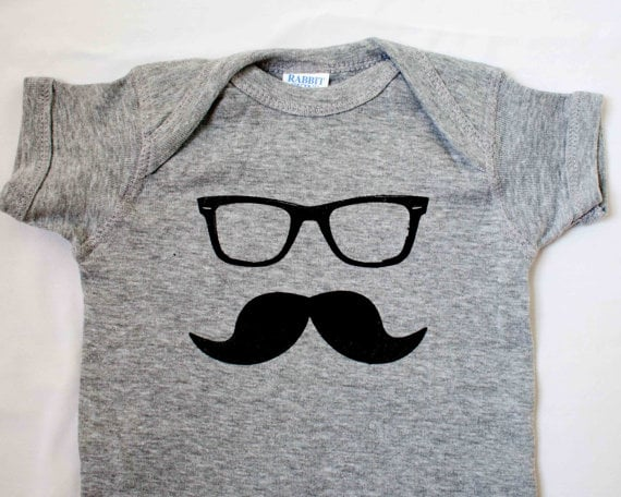 Brooklyn Global Mustache and Glasses Onesie