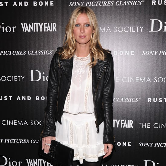 Nicky Hilton Wearing White Dress and Black Leather Jacket