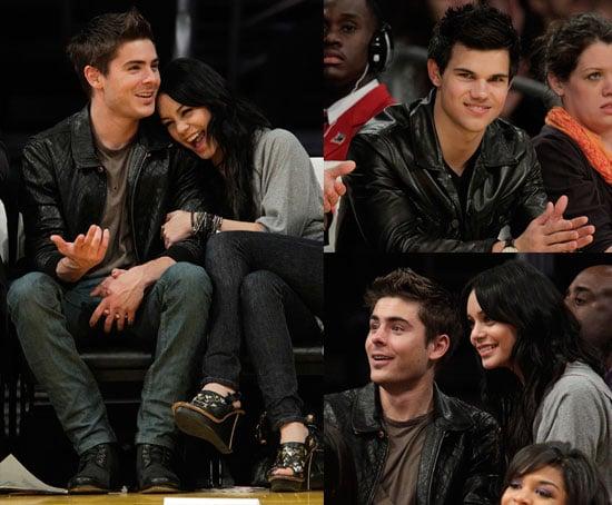 Photos of Taylor Lautner, Zac Efron, and Vanessa Hudgens at LA Lakers Game