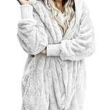 Dokotoo Fuzzy Fleece Open-Front Hooded Cardigan
