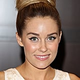 At the signing for her latest book, Infamous, Lauren Conrad wore a high-on-volume topknot with her signature winged eyeliner.