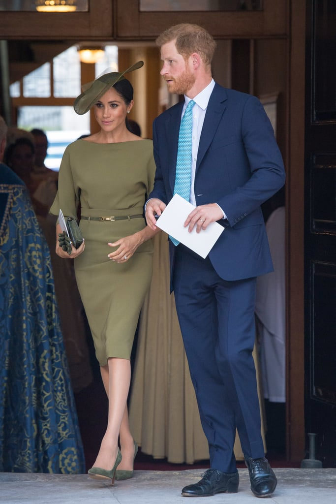 Meghan stepped out in a sophisticated olive Ralph Lauren dress for Prince Louis's christening in July 2018. She wore a matching Stephen Jones hat and Manolo Blahnik suede pumps.