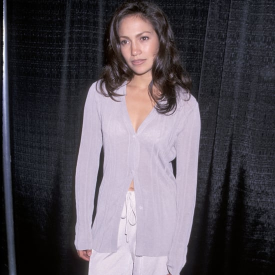 Jennifer Lopez '90s Outfit: Purple Cardigan and Silk Pants