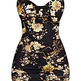 Black Velvet Floral Cowl Neck Bodycon Dress