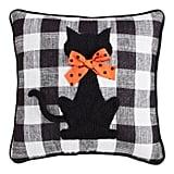 Black Cat Buffalo Check Pillow