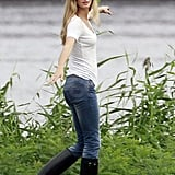 Gisele and Vida walked along a Boston river.