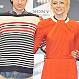 Andrew Garfield and Emma Stone were arm in arm for the press conference for The Amazing Spider-Man in Japan.