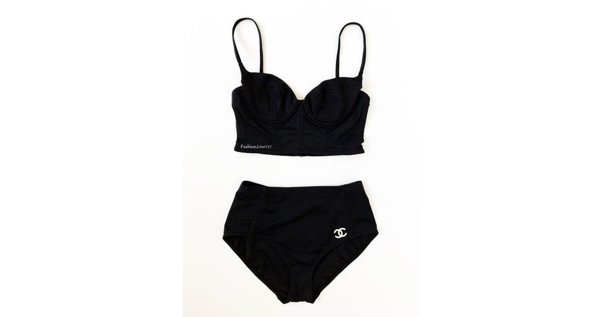 601894ccf5 Vintage Chanel Two-Piece High-Waisted Bikini Swimsuit