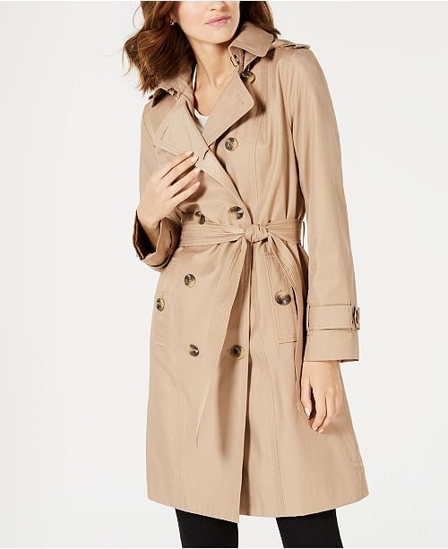 London Fog Double-Breasted Water Resistant Hooded Trench Coat