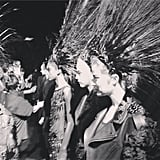 Feathered and ready to go, Louis Vuitton's models were shot in fittingly somber black and white. Source: Instagram user louisvuitton