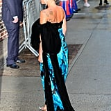 Lady Gaga Blue Marc Jacobs Dress and Clear Heels