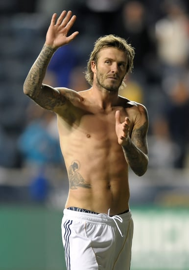 Shirtless David Beckham Pictures On the Field With the LA Galaxy
