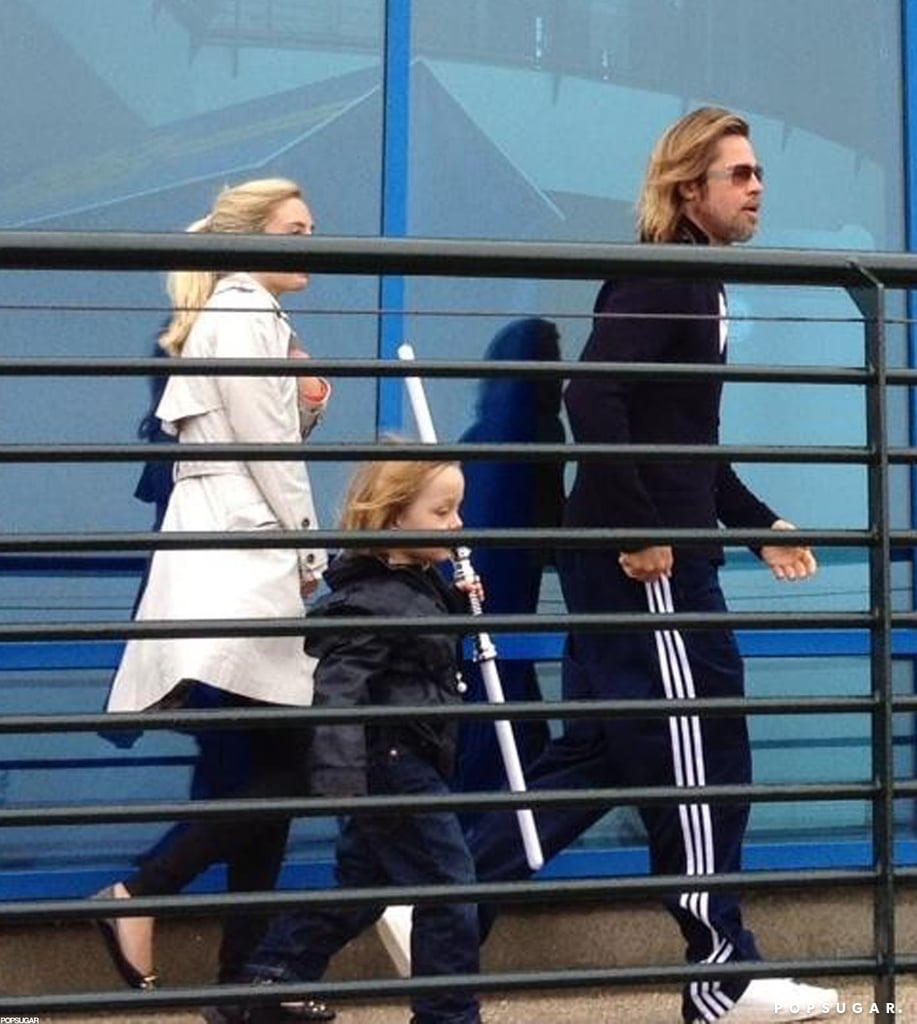 Brad Pitt and his son Knox Jolie-Pitt were together this morning to visit Legoland in Windsor, England. The boys stuck together during the visit, which is just Knox's latest. He also went to the park in September of last year, when his family was in the UK as Brad shot World War Z.  The Jolie-Pitt gang is in the UK again as Angelina preps to start work on Maleficent. She took three of their children, Maddox, Pax, and Zahara, on another special excursion since their arrival. Angelina visited with Russell Crowe on the London set of Les Misérables to see the lavish sets built at Pinewood Studios. The European stop comes after the Jolie-Pitts went to the Galapagos together two weeks ago to celebrate Brad and Angelina's engagement. Their decision to wed comes following seven years of being a couple and six children.