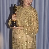 Meryl wore an embellished gold gown with sleeves to the 1983 Oscars.
