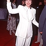 Meryl wore a crisp white suit and pants set for the premiere of Bridges of Madison County in 1995.