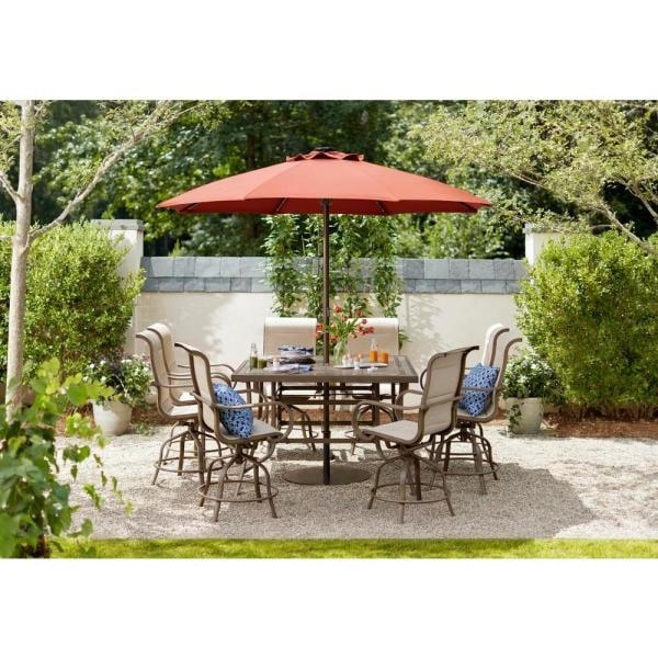 Hampton Bay LED Round Offset Outdoor Patio Umbrella