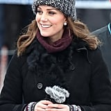 She Also Wore Asprey London Earrings and an Adorable Bobble Hat From Eugenia Kim