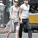 Keira Knightley and fiancé James Righton held hands crossing the street.