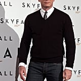 Daniel Craig kept it casual in jeans at the photocall.