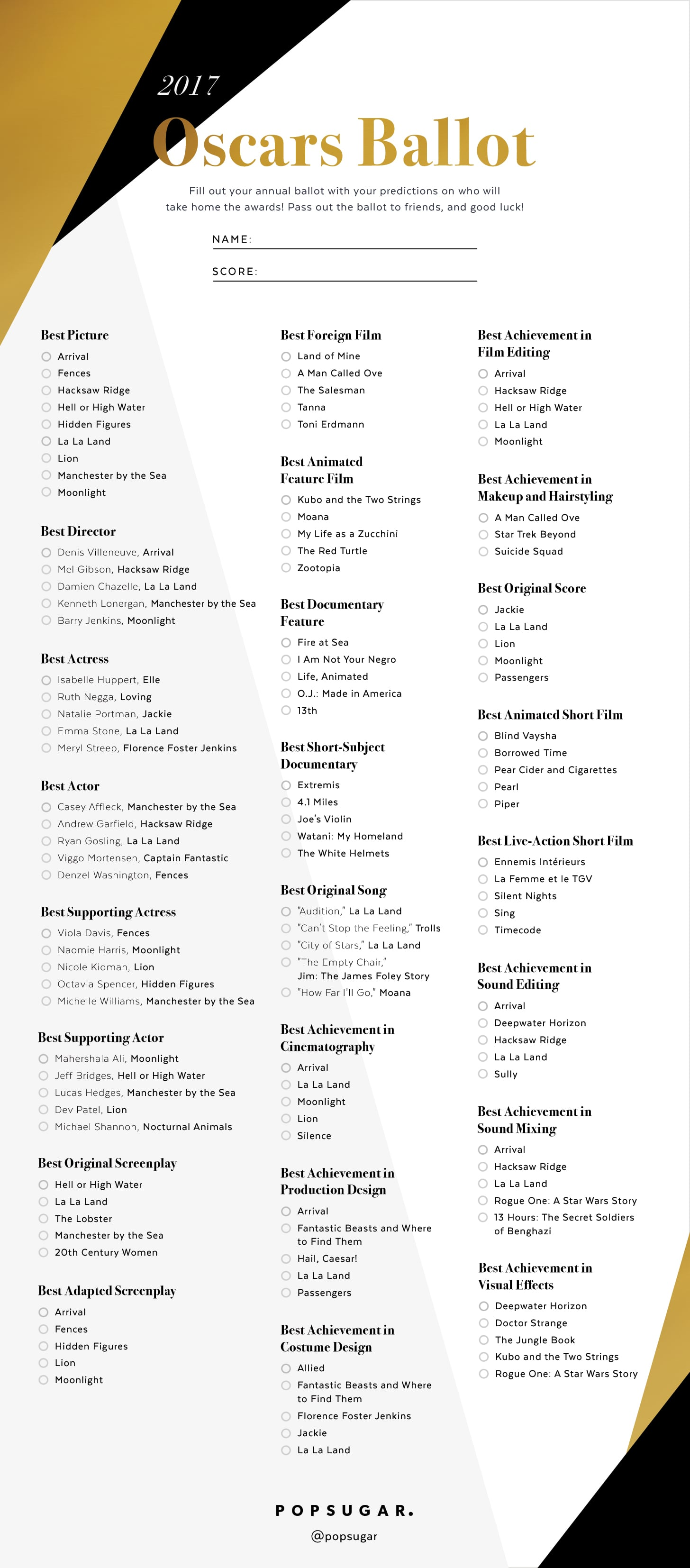 Printable Oscars Ballot 2017 | POPSUGAR Entertainment