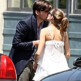 Olivia Palermo gave boyfriend Johannes Huebl a goodbye kiss in NYC in May.