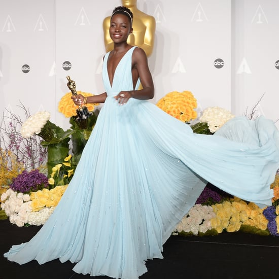 Lupita Nyong'o in Light Blue Prada Dress at Oscars 2014