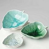 Oliver Bonas Leaf Green Reactive Glazed Stoneware Nesting Bowls Set of Three