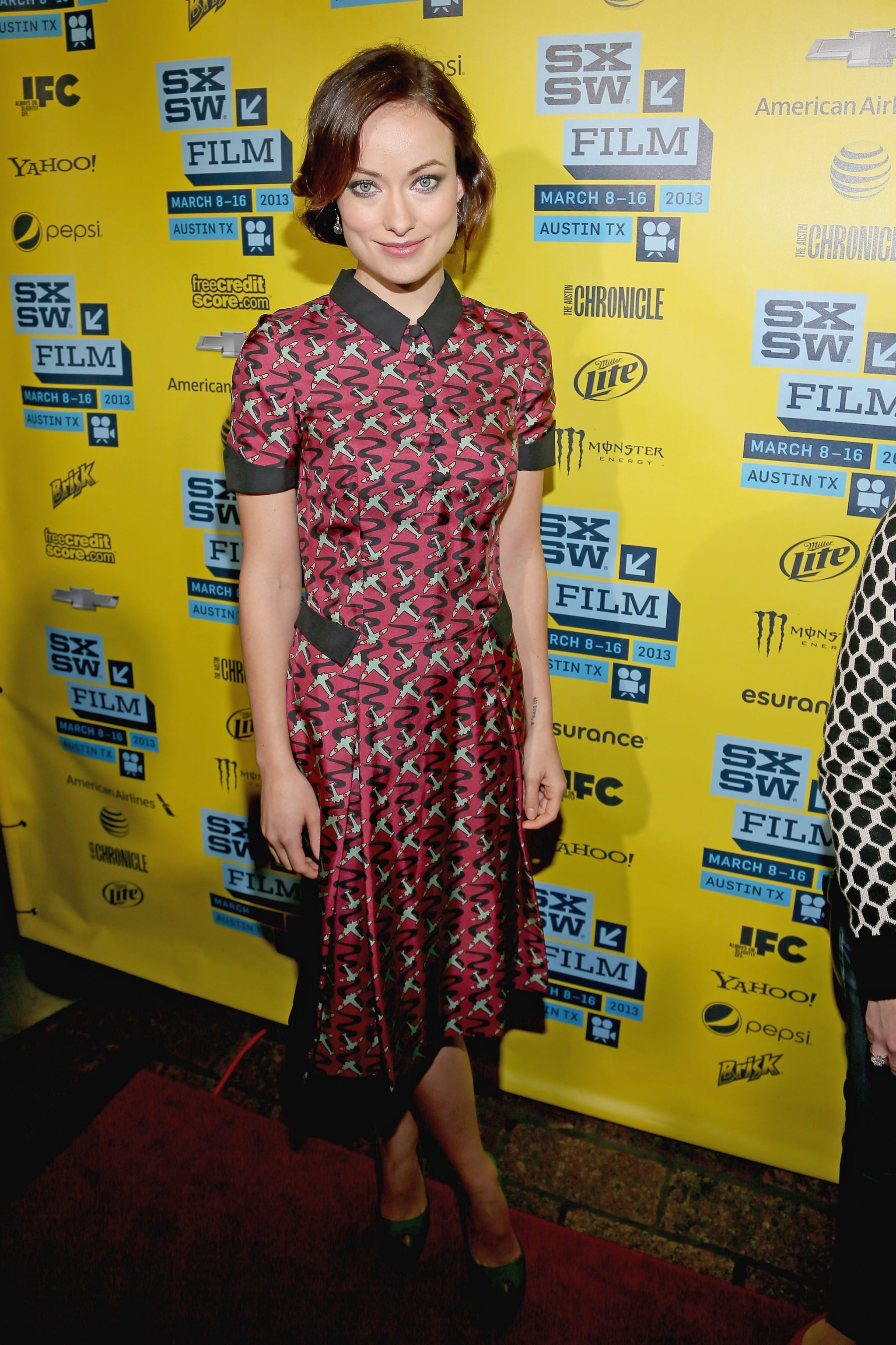 Olivia Wilde showed off a retro-feeling L'Wren Scott shirtdress — and the hair to match — at the Drinking Buddies premiere.