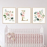 Personalized Blush Nursery Art Set of 3