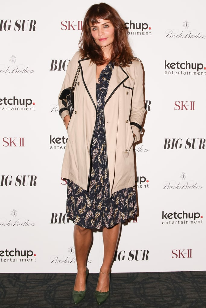 Helena Christensen kept warm while screening Big Sur with Brooks Brothers in a piped trench coat.