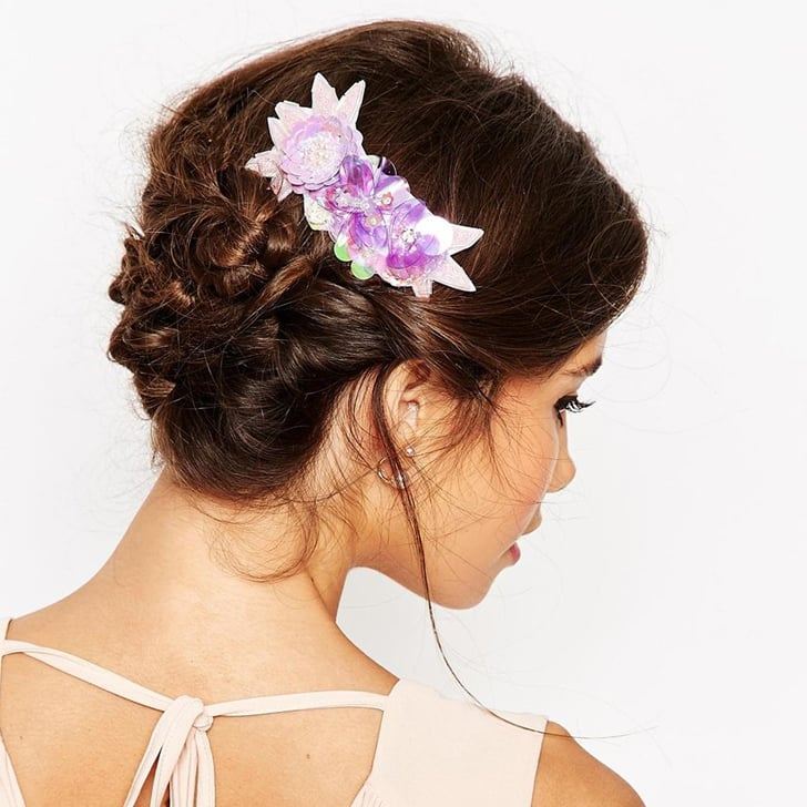 Sequin Floral Cluster Hair Comb, $25