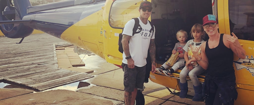 Pink and Carey Hart Family Meeting in Bathroom August 2018