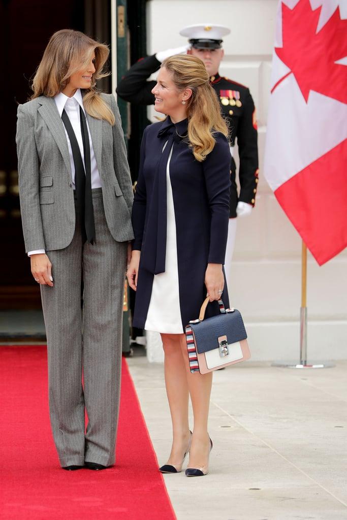 Melania Trump's Pinstripe Suit With Tie