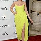 Wearing a neon yellow Oscar de la Renta and Stuart Weitzman sandals to the American Ballet Theatre Spring 2017 Gala.