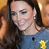 The white topaz Links of London hope egg earrings had their most famous outing for Kate's engagement portrait with William, but have also been worn many times on her Canadian tour and for a trip to the store Fortnum and Mason with the Queen.