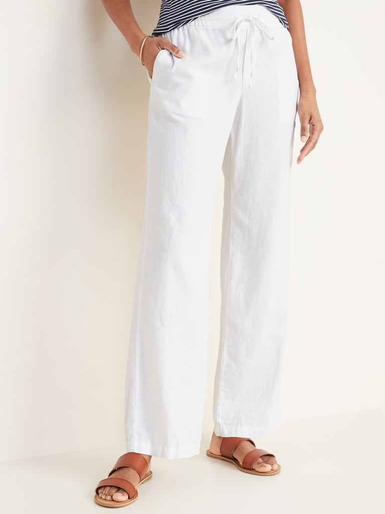 Old Navy Mid-Rise Wide-Leg Linen-Blend Pull-On Pants in Bright White