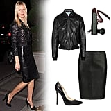 Karolina Kurkova's slick black leather-on-leather is begging to be worn for a hot night out. Pair a fitted bomber with a sleek leather pencil skirt, then add drama with a burgundy lip and a perfect pair of pumps. Get the look:   Faith Connexion Annabelle Dexter-Jones Leather Bomber Jacket ($850)  AllSaints Lucille Leather Skirt ($265)  Kors Michael Kors Aberly Leather Pump ($250)  Semi-Matte Lipstick in Cool Burgundy ($22)