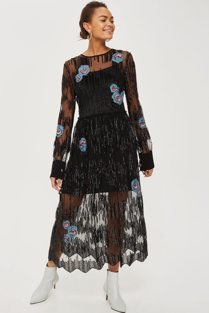 Peacock Embellished Dress (£130)