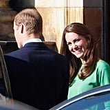 Kate Middleton smiles at Prince William.