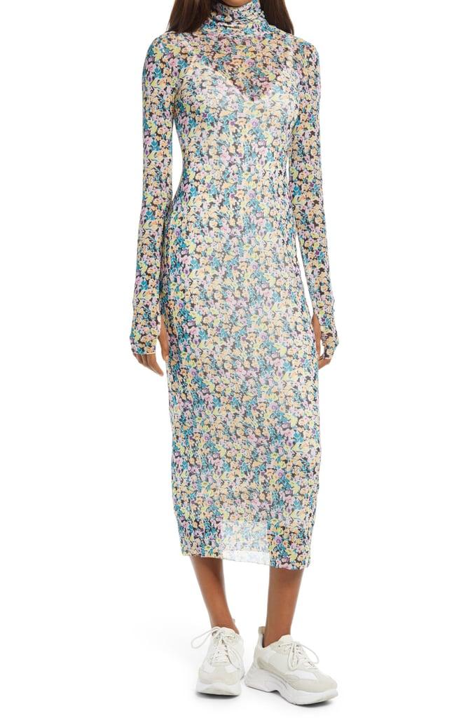 For a Floral Pop: AFRM Shailene Sheer Long Sleeve Dress